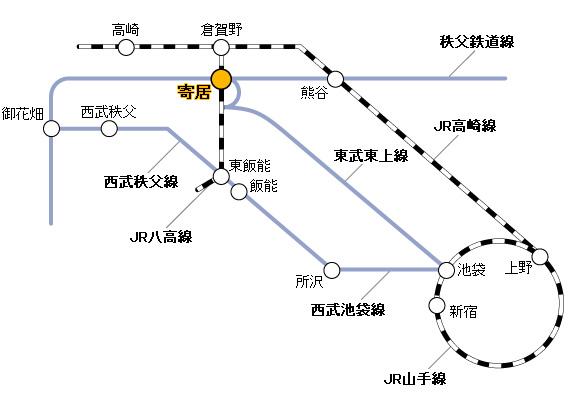 寄居町付近鉄道路線図